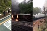 Tàu từ Tế Nam đến Quảng Châu bị trật bánh lật nghiêng và bốc cháy [VIDEO]