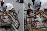 Xúc động cảnh người cha nhường khẩu trang cho con gái